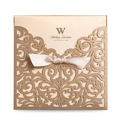 Doris Home wedding invitations wedding invites invitations cards wedding invitations kit Vertical Square Gold Laser Cut Wedding Invitation with Beige Ribbon,1pc,CW5011