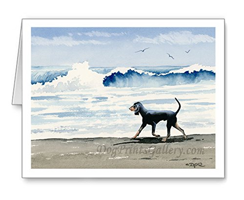 ''Black and Tan Coonhound at the Beach'' - Set of 10 Watercolor Note Cards With Envelopes by DJ Rogers Fine Art