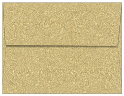 A2 Gold Leaf Metallic Straight Flap Envelopes, Curious Metallics 80lb, 25 pack