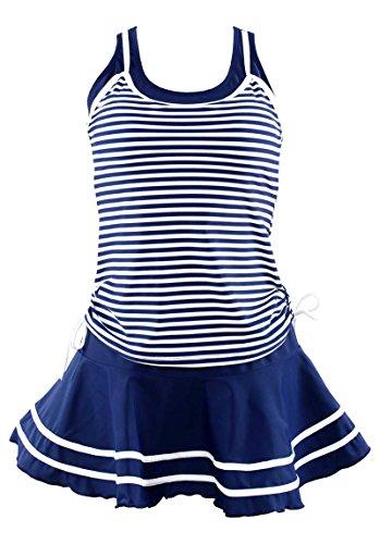 RELTANGL Retro Vintage Polka Stripe One Piece Pin Up Bikini Monokinis Swimsuit(FBA), M:US(4-6) Blue