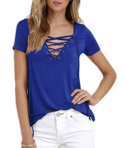 Q&Y Women's V Neck Short Sleeve Blouse Tops Casual Teen Girls Bandage Lace Up Tees Shirts Blue XXXL by Q&Y (Image #3)