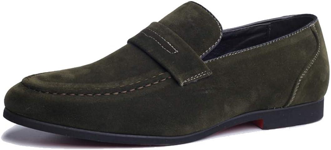 Mocasines de Cuero de Gamuza para Hombre Zapatos Antideslizantes Ligeros en Mocasines Zapatos de Vestir Casuales Transpirables para Caminar