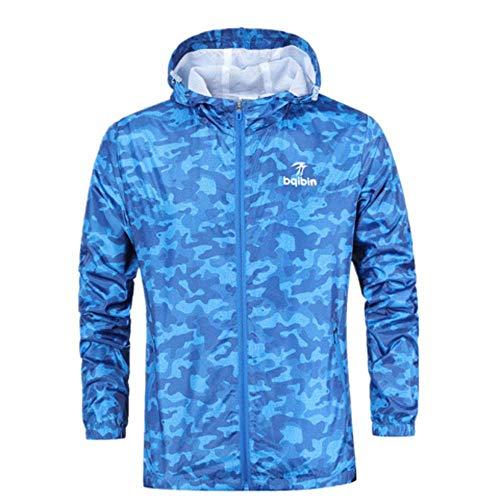 ANJUNIE Mens Waterproof, Camouflage Pullover Long Sleeve Hooded Sweatshirt Tops Casual Jacket (Sky Blue,XL) -