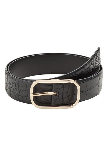bdb2c6fa10a3b Violeta By Mango Women s Plus Size Crocodile Effect Belt, Black, L ...