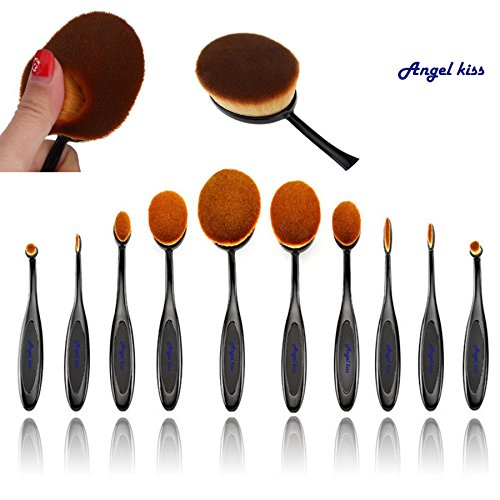 Angel Kiss Best Makeup Brushes Set - 2016 Professional 10 Pcs Soft Oval Toothbrush Makeup Brush Sets Foundation Brushes Cream Contour Powder Blush Concealer Brush Makeup Cosmetics Tool Set (Black )