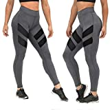 Napoo Clearance Women Geometry Print Colorblock Sports Gym Yoga Workout Athletic Leggings Pants (L, Gray A)