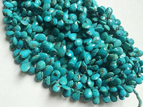 GemAbyss Beads Gemstone 1 Strand Natural Arizona Turquoise Faceted Pear Beads, Natural Turquoise Briolettes, Turquoise Necklace, 8x11mm - 9x12mm, 8 Inch Code-MVG-19317