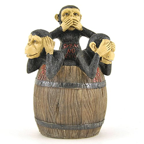 Opening Barrel Monkey Hear-Speak-See No Evil Collectible Figure, 6-inch -