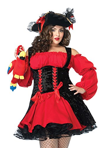 Double Halloween Costumes (Leg Avenue Women's Plus Size Vixen Pirate Wench Costume, Black/Red, X-Large/XX-Large)
