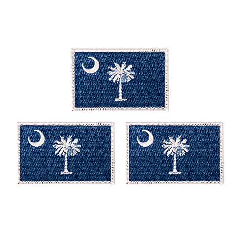 South Carolina SC Flag Patch Bulk 3-Pack 3.5Wx2.25H State Iron On Sew Embroidered Tactical Morale Back Pack Hat Bags (3-Pack Patch)
