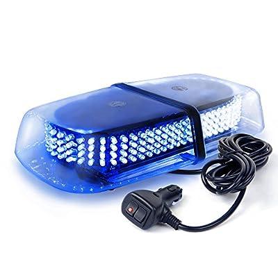 Xprite White Blue 240 LED Emergency Hazard Warning Mini Beacon Light Bar w/Magnetic Base for Law Truck Car Enforcement Snowplow Safety Strobe Lights: Automotive