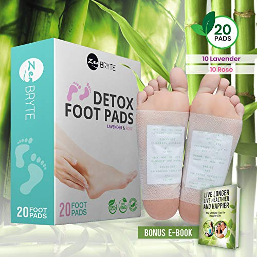 Bamboo Vinegar Foot Pads (20 Pack) - 100% Natural Rose Plus Lavender - Premium Aroma Feet Set - Soothing Adhesive Foot Pads