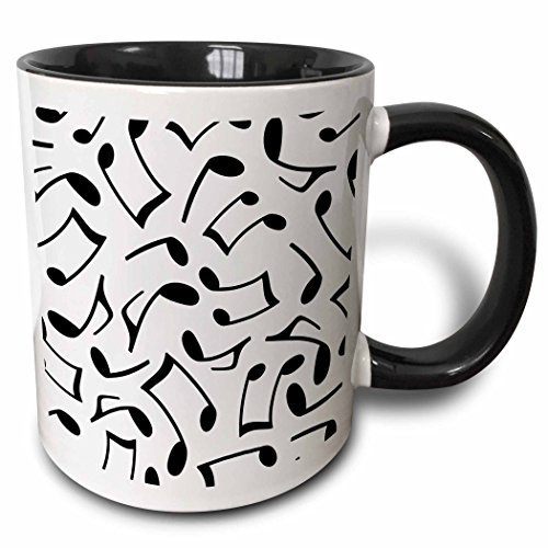 3dRose 165905_4 Music Notes Pattern White And Black Two Tone Mug 11 oz Multicolor