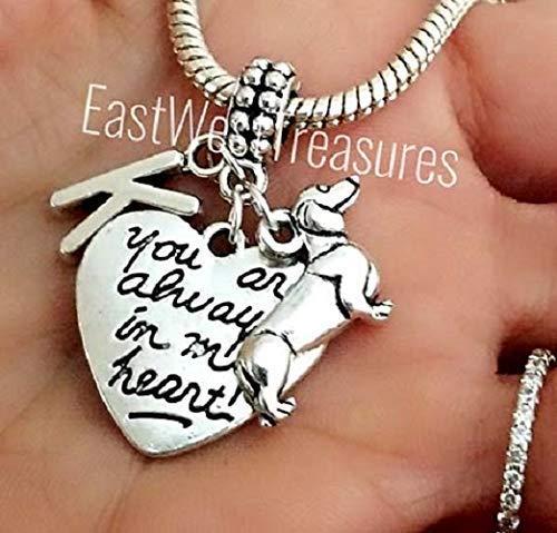 Dachshund Sausage Wiener dog angel charm bracelet and necklace and keychain-Dachshund Memorial jewelry ()