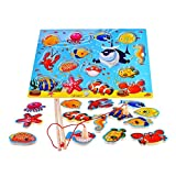 TOYMYTOY Wooden Magnetic Educational Bath Fishing Toys Table Game for Kid Children Ba