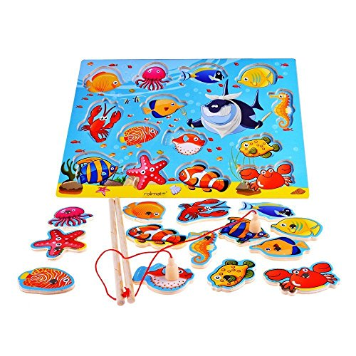 TOYMYTOY Wooden Magnetic Educational Bath Fishing Toys Table Game for Kid Children Baby Birthday Gift