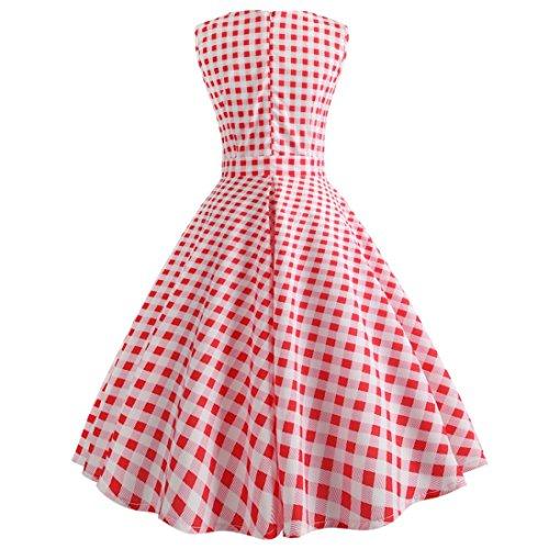 Dress Chic Party Femmes Patchwork Robe Femme Robe Maille en Manches Parti Impression Vintage Dot Rose Swing Party Fathoit sans Cocktail 51qZx7px