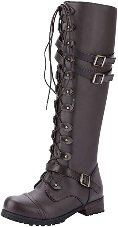 Womens Ankle Vintage Boots Leather Round Head Combat Punk Biker Motorcycle