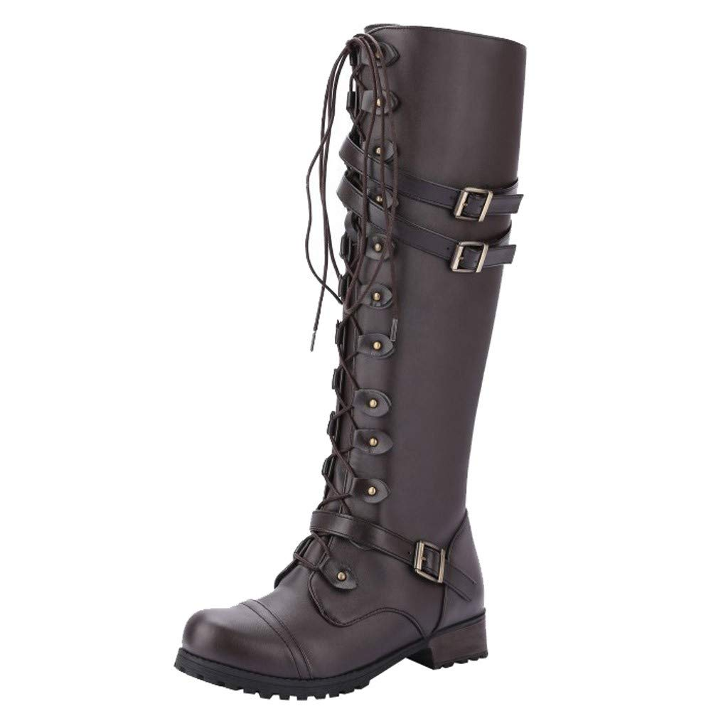 〓COOlCCI〓Women's Knee High Riding Boots Lace Up Buckles Winter Military Combat Boots Stacked Heel Boot Chelsea Boot Brown by COOlCCI_Shoes