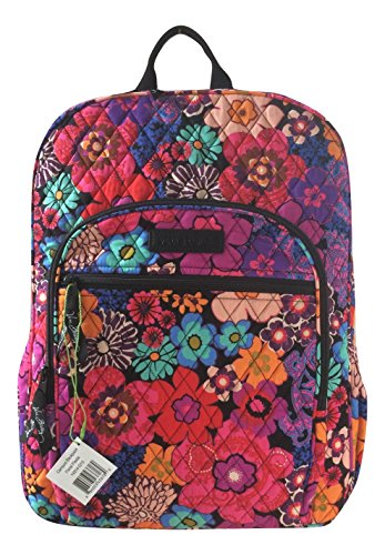Vera Bradley Campus Backpack with Solid Color Interior (Updated Version) (Floral Fiesta with Black - Stores Vero Outlets