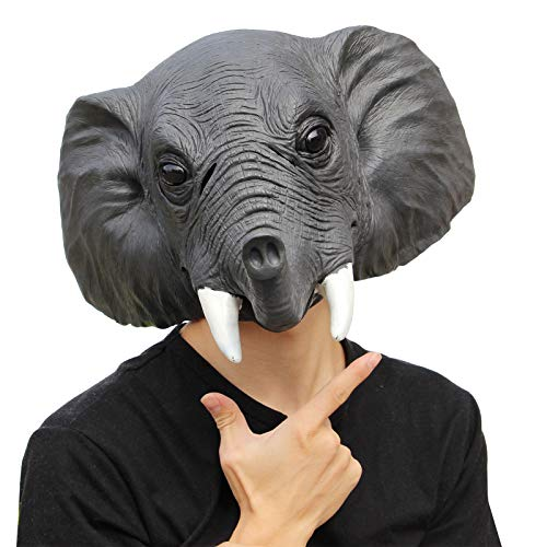 PartyHop - Elephant Mask - Halloween Latex Forest Animal Head Mask ()