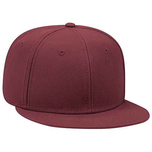 (OTTO SNAP Wool Blend Twill Round Flat Visor 6 Panel Pro Style Snapback Hat - Burg. Marn)