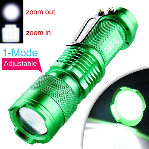 Enjoydeal Green Portable Mini CREE Q5 LED Zoomable 1200 Lumens Flashlight Torch Light