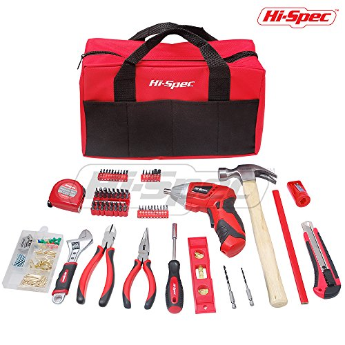 Hi-Spec 160 Piece DIY Tool Set with 4.8v Advanced 2-Position Cordless Screwdriver, 33pc Most Common & 26pc Precision Bit Set, Claw Hammer, Crescent Wrench, Pliers, Measuring and Wall Fixtures Kit
