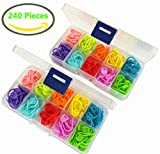 240 Pieces Knitting Crochet Locking Stitch Markers Stitch Needle Clip Counter 10 Colors (240 Pieces)