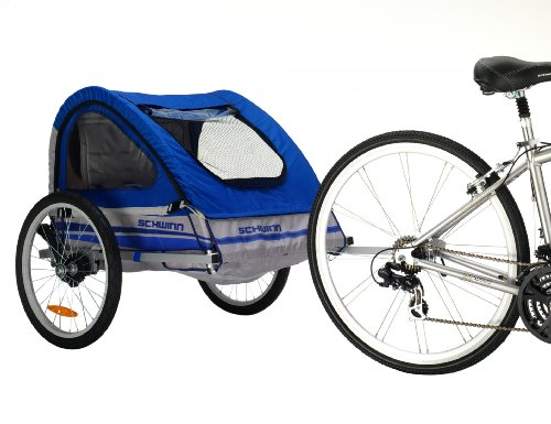 Pacific Cycle Schwinn Trailblazer Double Bicycle Trailer,Blue/Gray