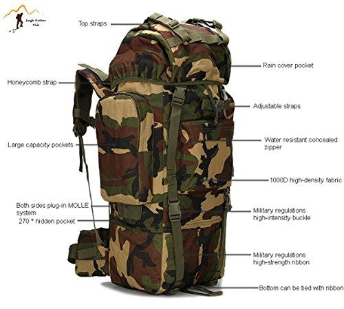 Jungle laptop 65L grande capacità oversize molle pacchetto borsa a tracolla tattico tasche Wild borsa zaino Zaino per trekking, campeggio, arrampicata copertura impermeabile mimetico zaino, verde mili