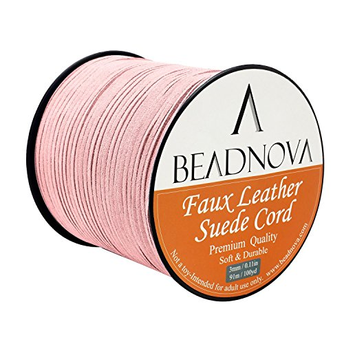 BEADNOVA 3mm Faux Suede Cord Flat Leather Cord 100 Yards Roll Spool for Necklace Bracelet Jewelry Making, Baby Pink (Necklace Suede Pink)