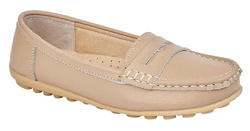 Mocasines de cuero, para mujer, zapatos planos de verano cómodos para conducir