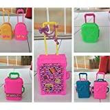 5pcs Toys Travel Train Suitcase Luggage Case Doll Dress Storage Case Toys For Barbie Doll House