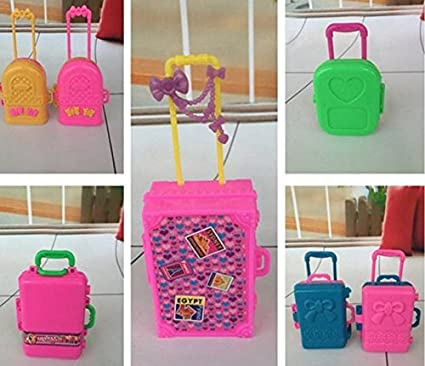 Genial 5pcs Toys Travel Train Suitcase Luggage Case Doll Dress Storage Case Toys  For Barbie Doll House