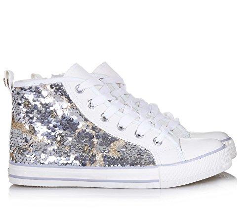Mode Femmes Blanc Paillettes En Blanche set Originale Et À Femme Twin Tissu Filles Lacets La Sneaker Fille xPaYnF