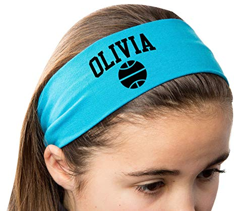 Design Your Own Personalized BASKETBALL Cotton Stretch Headband with CUSTOM Name VARSITY Text By Funny Girl Designs -