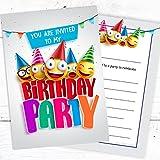 Kids Birthday Party Invites - Children's Fun Emoji Design Invitations - A6 Postcard Style Ready to Write (Pack 10)