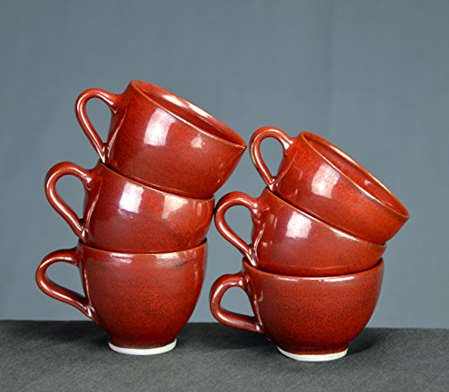 Iron Red Ceramic Teacup Set, Hand Thrown Porcelain Pottery, Espresso Cup Set, Coffee Cup Set, Cup, Sake, Tea, Gift | Caldwell Pottery