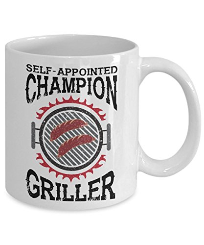 Father's Day Gift for Grandpa ~ Self Appointed Champion Griller - BBQ gifts for men - White C Handled 11 Oz Coffee Mug Tea Cup