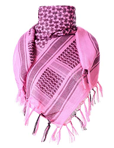 Wrap Military (ChinFun 100% Cotton Keffiyeh Tactical Desert Scarf Military Arab Scarf Wrap Shemagh (Fushcia))