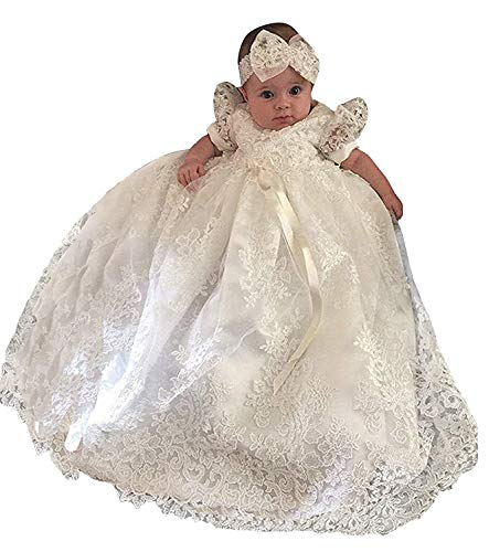 Christening Gown Baby Girl Lace Toddler Dedication Dress for Age 18 months]()