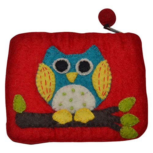 Handmade Felt Zippered Animal Coin Purse Unique Fun Novelty Designs (Owl)