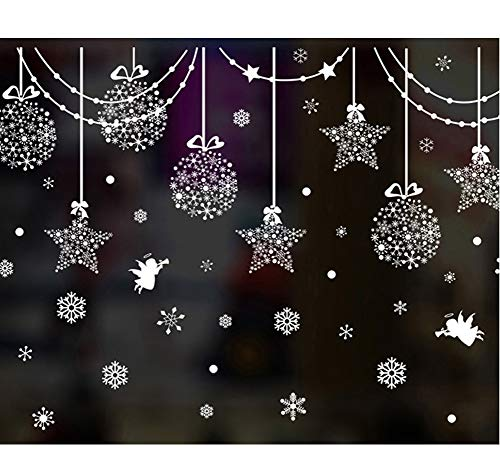 SWORNA Holiday Series SN-64 Merry Christmas Ball Star Snowflakes Decoration Removable Vinyl Wall Window Door Mural Decal Sticker Retail Store/Coffee House/Restaurant/Supermarket/Dress Shop 30H X 63W