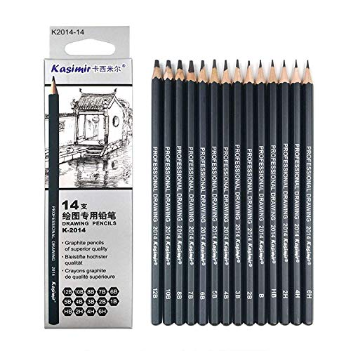 Artist Pencil Collection Best Quality 14pcs/Set 12B 10B 8B 7B 6B 5B 4B 3B 2B B HB 2H 4H 6H Graphite Sketching Pencils Professional Sketch Pencils Set For Drawing