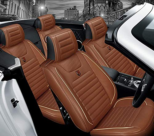 AYCYNI Easy To Clean Leather Car Seat Cushion 5 Seats Full Set - Non-Slip Suede Backing Universal Fit Seat Cover For Fabric,Black,Brown: Kitchen & Home