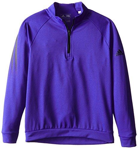 adidas Golf Boys 3 Stripes 1/2 Zip Shirt, Night Flash/Black, (Taylormade Childrens Clothing)
