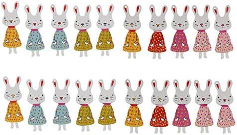 可愛い ウサギの形 DIY 工芸品 木製のボタン 装飾ボタン 縫製ボタン 手芸用 飾り 多色セット 約20個入り
