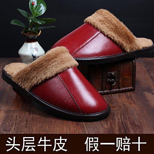 Inverno pantofole uomini e donne paio di pantofole di cotone molto spessa spessa pelle pantofole e 27 metri (39-40 metri), Rosso