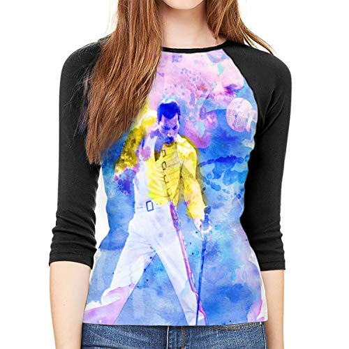 (Queen Rock Band Freddie Mercury M 3/4 Sleeve Womens 3D Print Baseball T-Shirt 3D Print Raglan Tee Shirt)